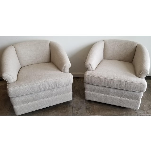 Textile Refurbished Vintage Belgium Linen Swivel Chairs - a Pair For Sale - Image 7 of 7