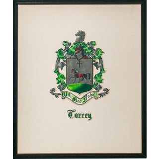 Turrey Family Armorial Coat-Of-Arms Framed Gouache Painting For Sale