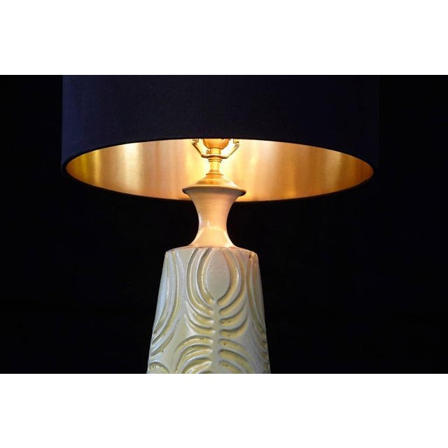 Hand Thrown Yellow Ceramic Lamp with Decorative Lines by Robert Maxwell For Sale In New York - Image 6 of 10
