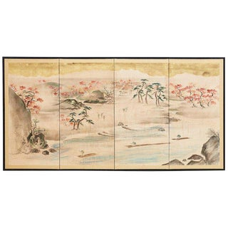 Japanese Four Panel Painted Landscape Screen With Gold Leaf For Sale