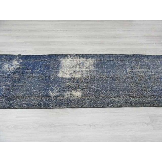 Vintage Turkish Blue Overdyed Runner Rug - 2′11″ × 12′ For Sale - Image 4 of 6
