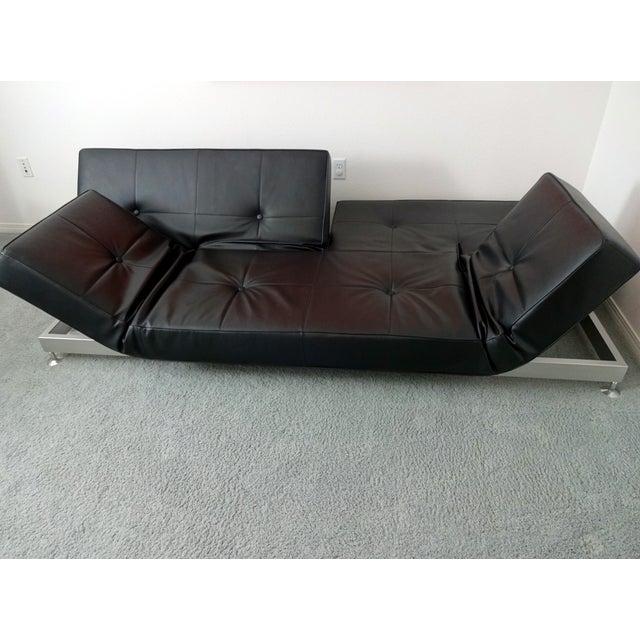 Edra Damier Italian Black Leather Sofa - Image 5 of 11