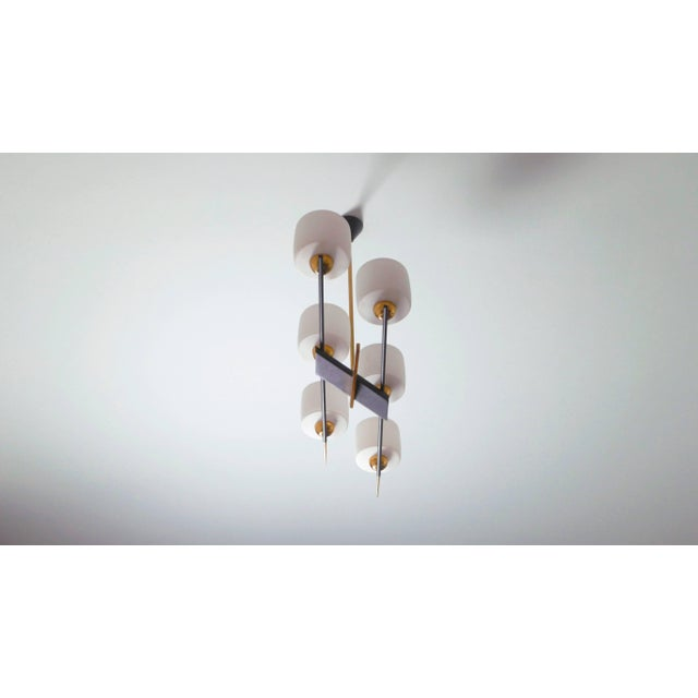 Mid-Century Modern Arlus Brass and Opaline Chandelier, 1960s For Sale - Image 3 of 7