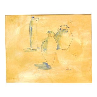 Contemporary French Pottery Still life Ink Drawing on Paper by Martha Holden For Sale