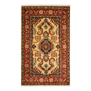 "Kazak Alaina Ivory/Red Hand-Knotted Wool Rug - 2'8"" X 4'2"""