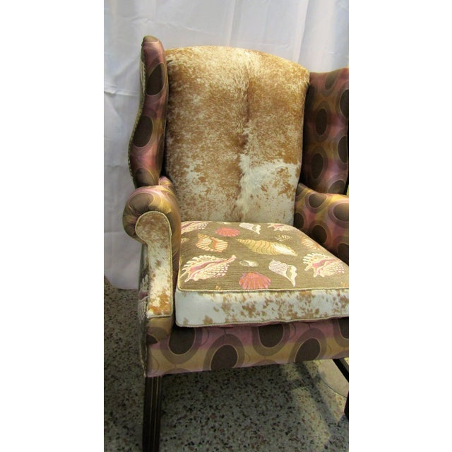 Vintage Chippendale Wingback Chair W/ Cowhide - Image 3 of 8