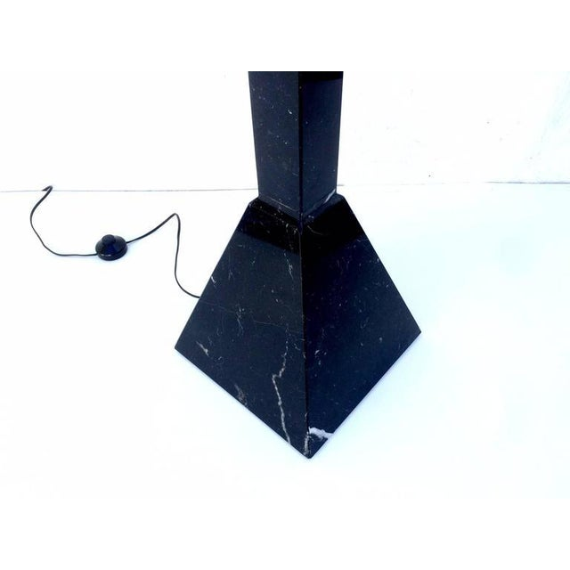 1980s Postmodern Italian Black Marble Torchiere Floor Lamp For Sale - Image 5 of 7