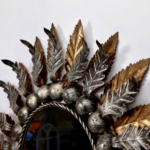 Mid Century Spanish Gilt and Silver Metal Sunburst Mirrors - A Pair - Image 8 of 9