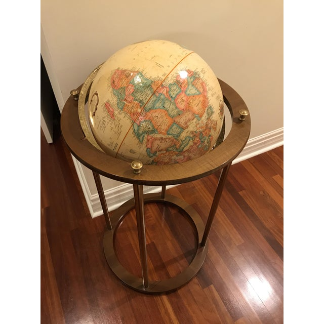 Vintage Replogle Brass and Wood World Globe on Stand For Sale In Chicago - Image 6 of 9