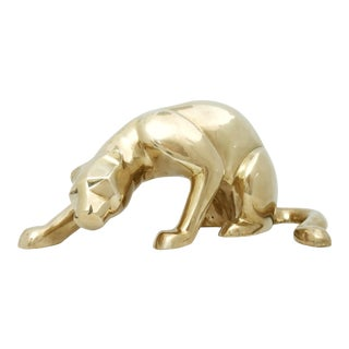 Vintage Late 20th Century Brass Panther Statue For Sale