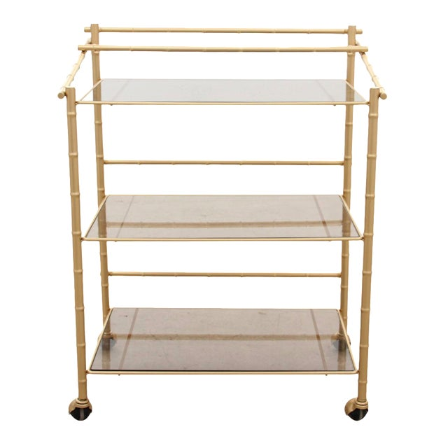 Chinoiserie Faux Bamboo Bar Cart - Image 1 of 7