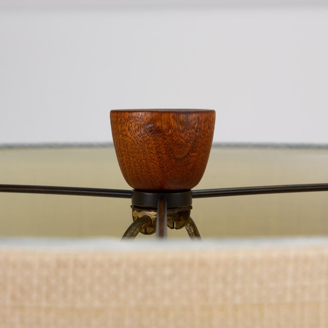 Danish Teak Lamp With Inlaid Brass For Sale - Image 4 of 9