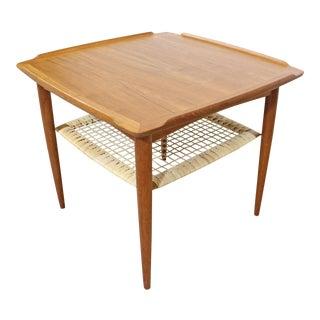 Mid-Century Danish Modern Poul Jensen Selig Teak Caned Square Side Table For Sale