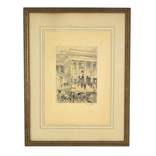 1920s Vintage Reporters Swarming Courthouse Awaiting Verdict Veder Hand-Colored Etching For Sale - Image 10 of 10