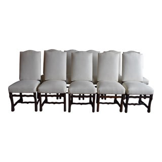 Vintage French Provincial Upholstered Os De Mouton Dining Chairs - Set of 8 For Sale