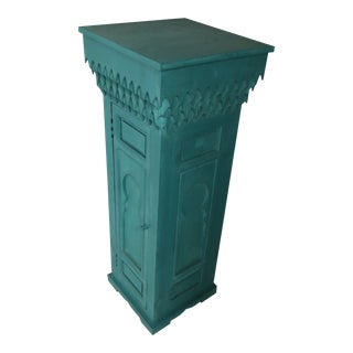 20th Century Moroccan Green Wooden Pedestal For Sale