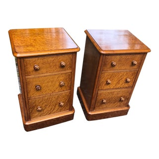 19th Century English Birds Eye Maple Nightstands - a Pair For Sale