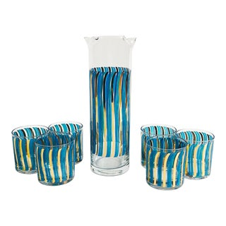 Mid Century Blue and Gold Drink Set - 7 Pieces For Sale