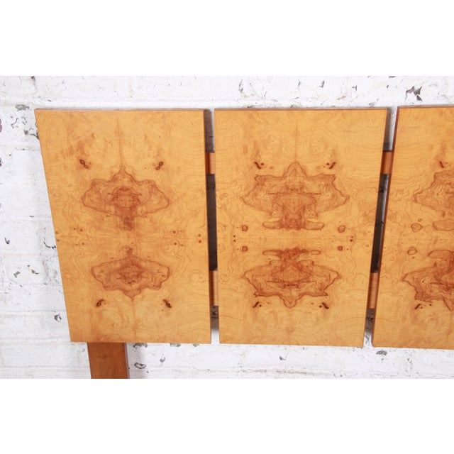 Lane Furniture Milo Baughman Style Mid-Century Modern Burl Wood Queen Size Headboard For Sale - Image 4 of 6