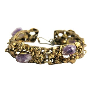 Copa Collection Brazil Brutalist Bracelet With Amethyst For Sale