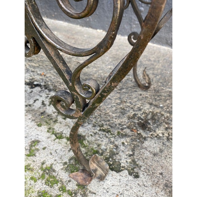 Tan Pair Of 1900's French Iron Benches With Trelice Rosette Motif For Sale - Image 8 of 13
