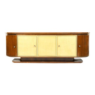 French Art Deco Sideboard or Credenza With Parchment Front, Monumental For Sale