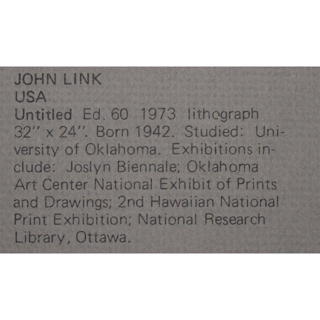 """Lithograph John Link (American, B.1942) """"Untitled"""" Limited Edition Lithograph C.1973 For Sale - Image 7 of 8"""