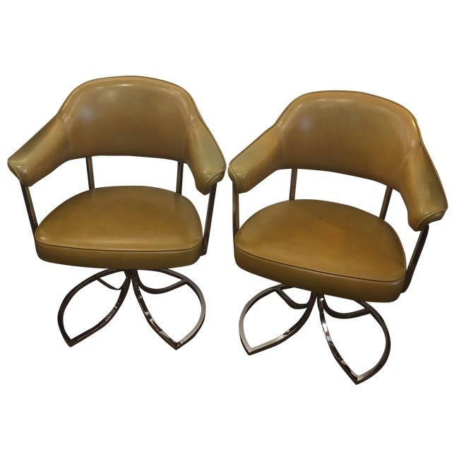 Harvest Gold Leather & Chrome Chairs - A Pair - Image 1 of 9