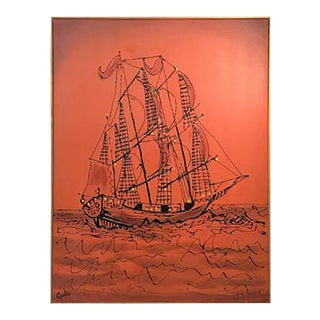 1960s Brutalist Bright Orange Pirates Galleon Oil Painting For Sale