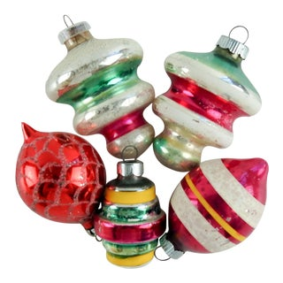 Vintage Hand Blown Christmas Ornaments - Set of 5 For Sale