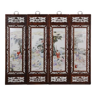 20th Century Chinese Painted Porcelain Panels For Sale