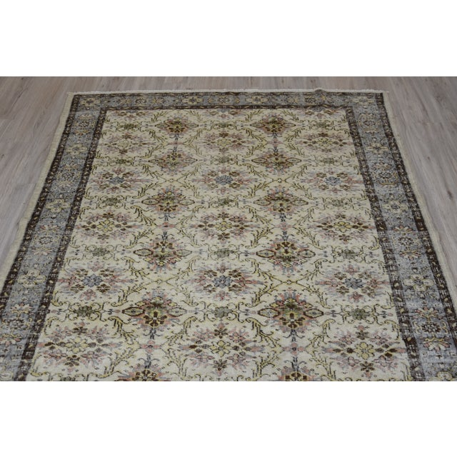 Islamic Vintage Muted Color Wool Rug Turkish Anatolian Oushak Rug Tribal Hand-Knotted Oriental Rug Livingroom Antique Nomadic Rug 6x9 Ft For Sale - Image 3 of 8