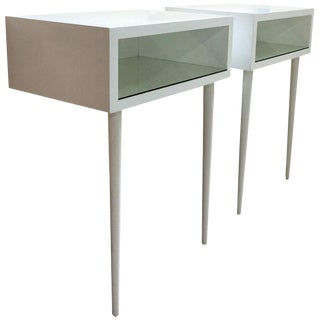 20th Century Danish Midcentury White Modern-Style Nightstands, a Pair For Sale
