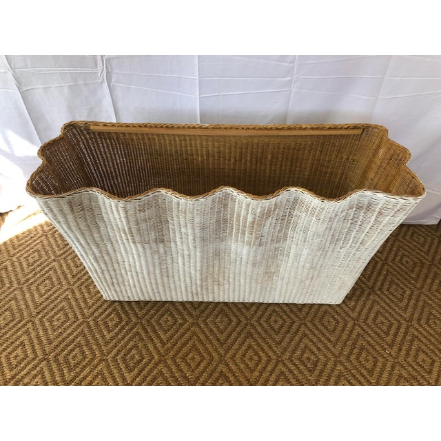 1960s Vintage White Wicker Ghost Trompe L' Oeil Console For Sale - Image 5 of 13