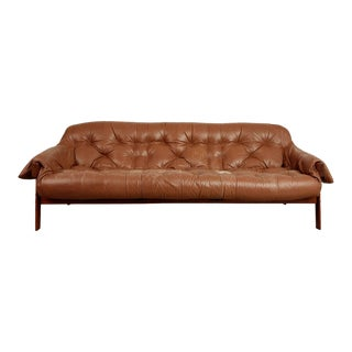 1960s Percival Lafer Rosewood and Distressed Leather Tufted Sofa, Brazil For Sale