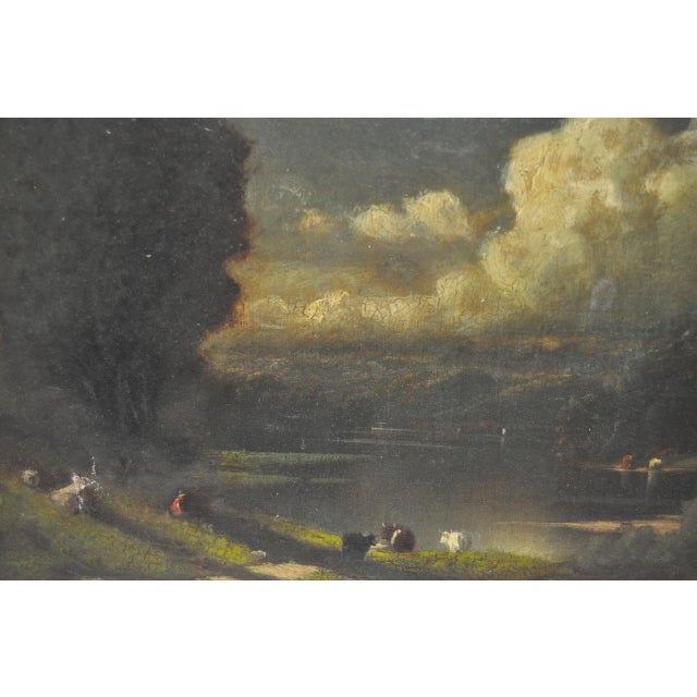 19th C. Country Landscape w/ Cows & Figure For Sale In San Francisco - Image 6 of 9