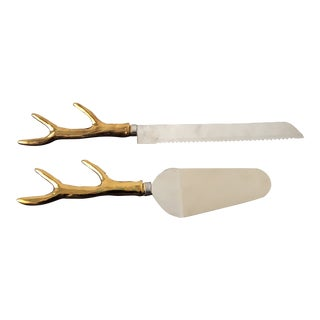 Hollywood Regency Holiday Antler Hostess Set - 2 Pieces For Sale