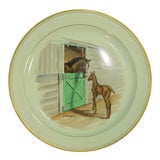 Image of 1950s Vintage Frank Vosmansky for Abercrombie & Fitch Equestrian Dinner Plate For Sale