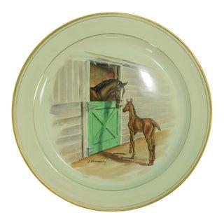1950s Vintage Frank Vosmansky for Abercrombie & Fitch Equestrian Dinner Plate For Sale