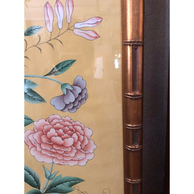 Hand painted Gracie wallpaper panels in gilded faux bamboo frames. These dramatic oversized panels are protected by glass...