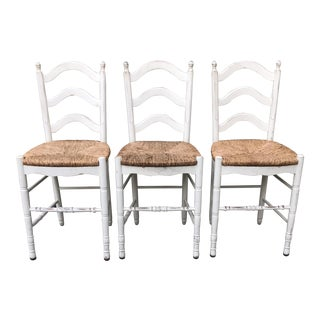 Painted Barstools with Rush Seats -- Set of 3