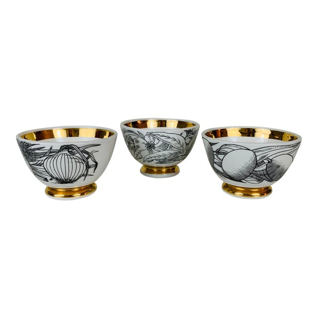1960s Piero Fornasetti Snack Bowls - Set of 3 For Sale
