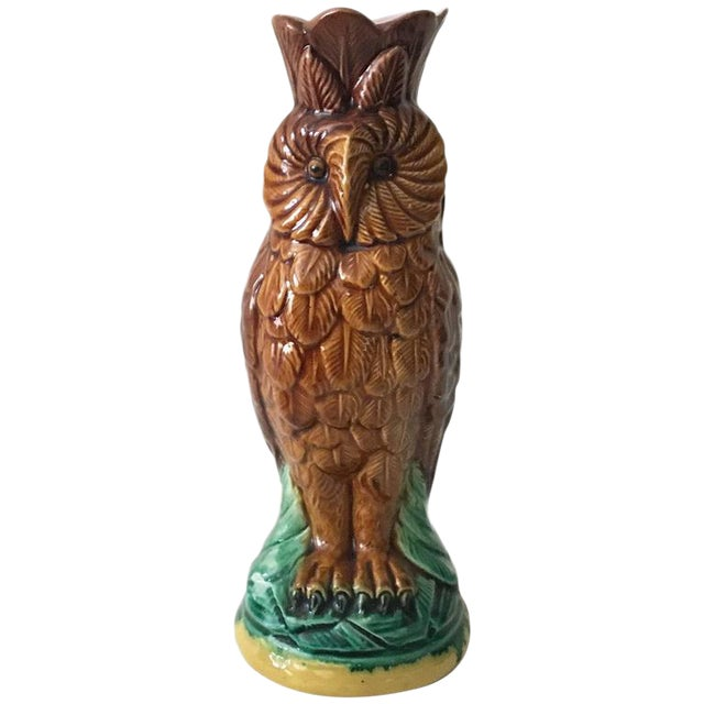 19th Century English Majolica Owl Vase For Sale
