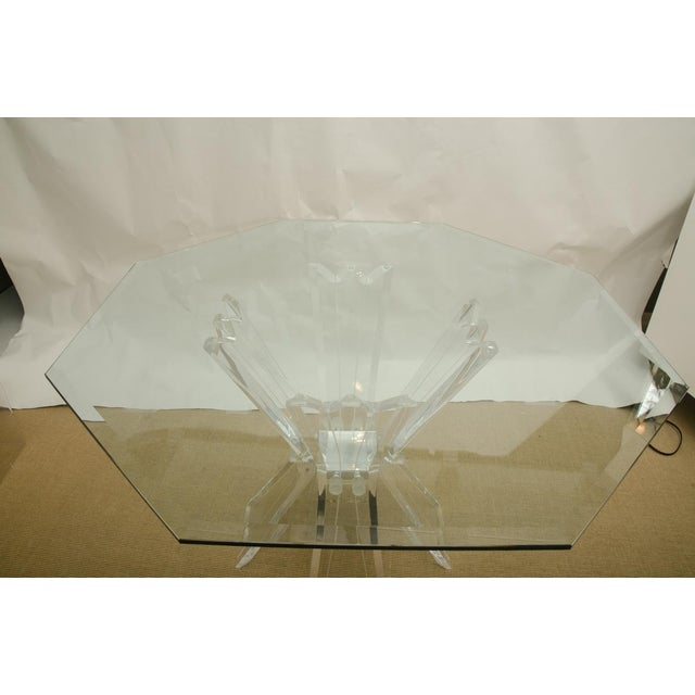 Mid-Century Modern Beautiful Octagonal Dining Table with Lucite Base and Beveled Glass Top For Sale - Image 3 of 7