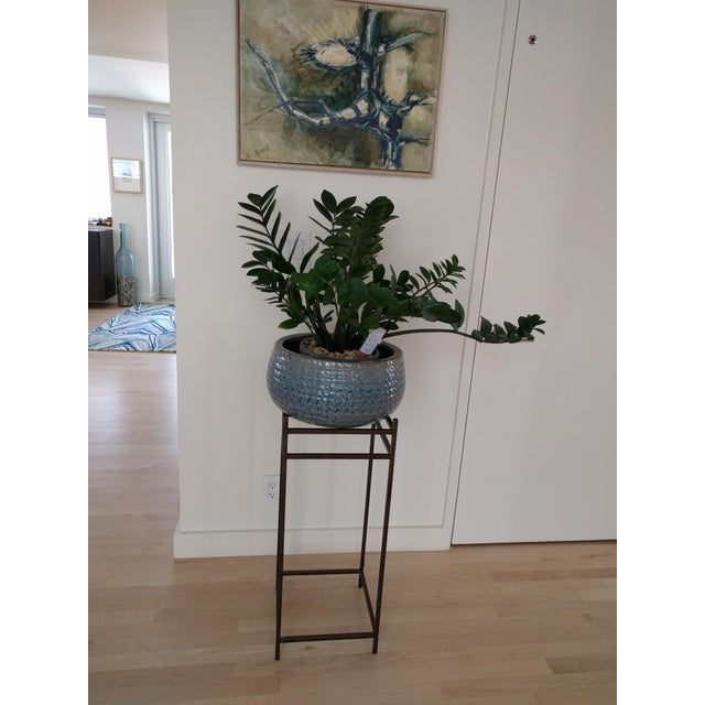 Modern Contemporary Tall Metal Plant Stands - a Pair For Sale - Image 4 of 12