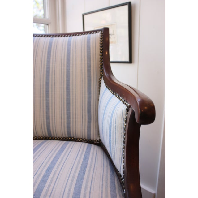 Vintage Blue & White Striped Nailhead Chair For Sale In Los Angeles - Image 6 of 9