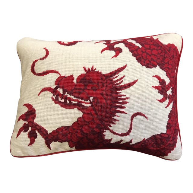 Williams Sonoma Dragon Needlepoint Pillow - Image 1 of 6