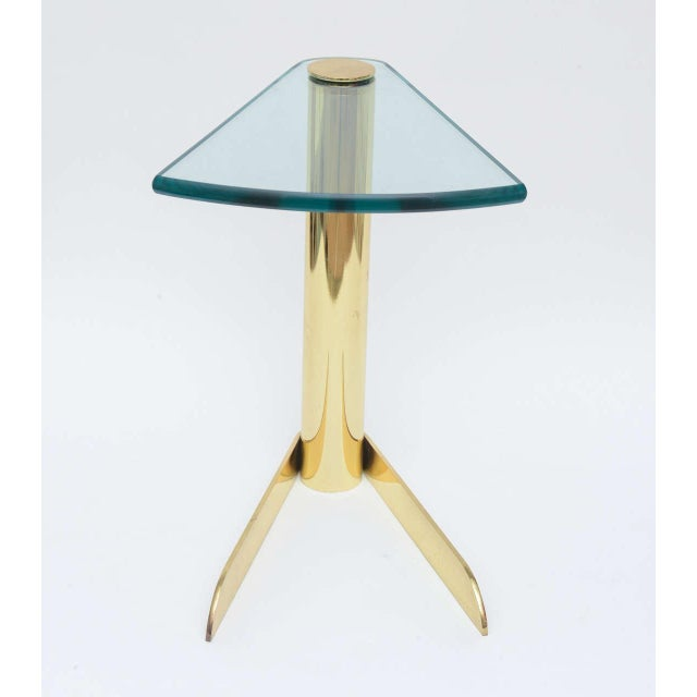 Pace Sculptural Brass & Glass Wedge Side Table - Image 3 of 4