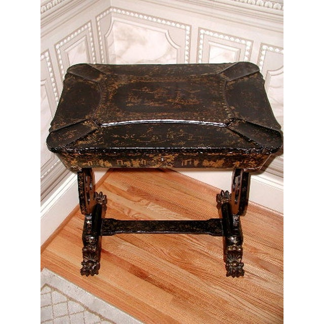 Antique English 1850s Chinoiserie Sewing Chest - Image 2 of 11