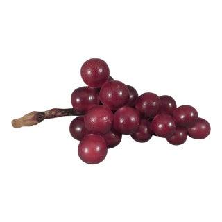 Vintage Italian Alabaster Grapes With Grapevine Stem